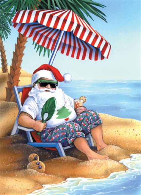 santa claus   beach holiday cards coastal christmas stationery california seashell