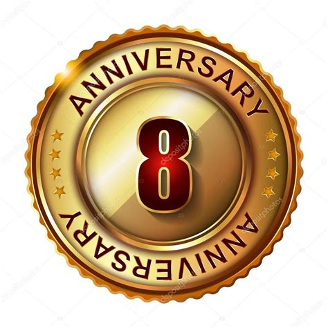 8 in years 8 years anniversary golden label stock vector 169 galastudio 66627661