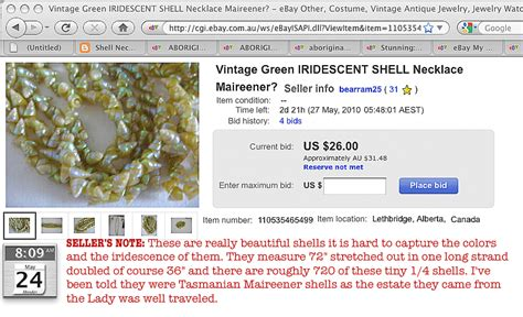 ebay reserve not met shell necklace file