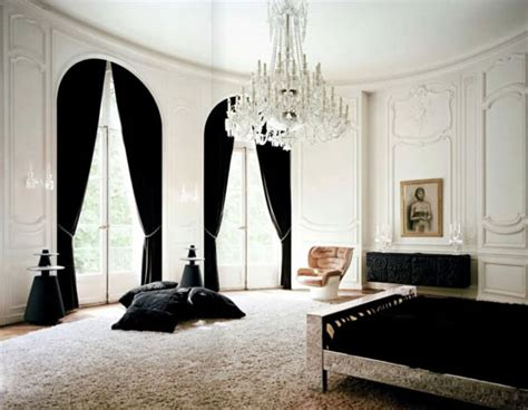 black room with white curtains black and white boiserie chandelier curtains decor