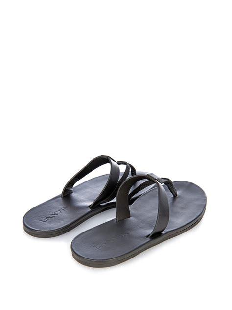 lanvin sandals lyst lanvin leather and flip flops in black