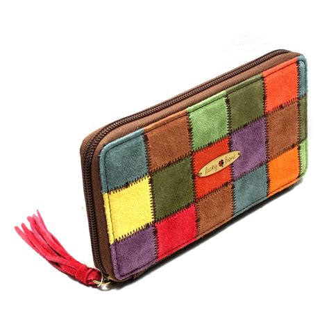 Patchwork Wallet - lucky brand multi color suede zip around wallet clutch
