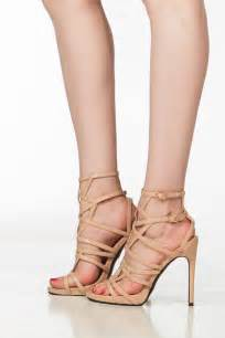 beige faux leather cut out ankle strap heels cicihot