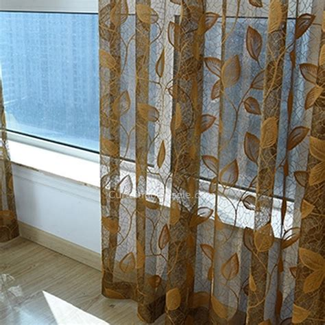 brown patterned sheer curtains embroidery gold leaves pattern sheer curtain for living room