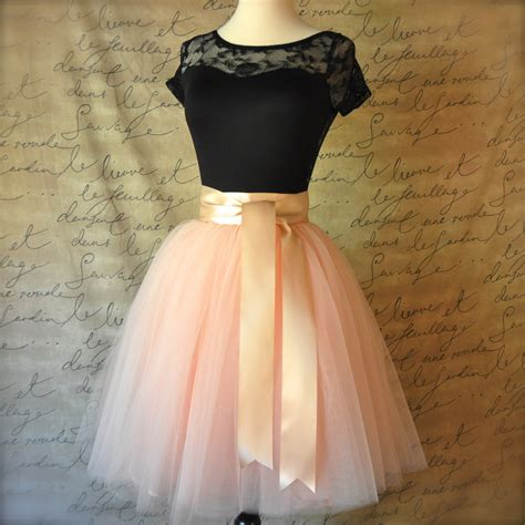 blush pink lined tulle skirt for