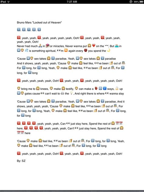 emoji yourself song bruno mars quot locked out of heaven quot emoji song lyrics