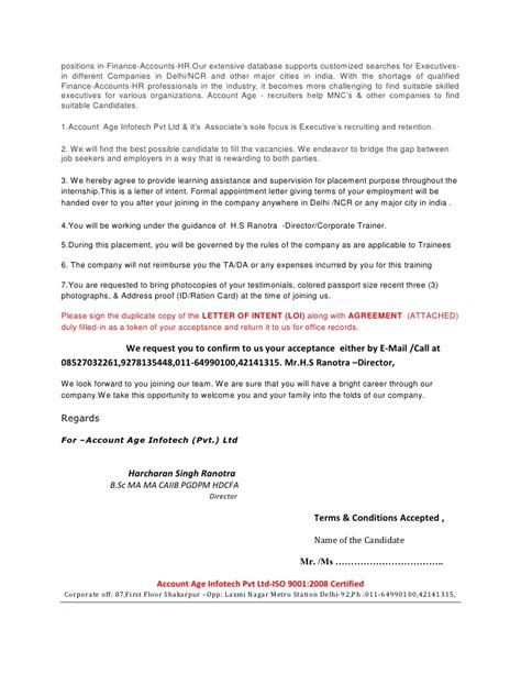 appointment letter format for back office executive letter of intent loi appointment letter