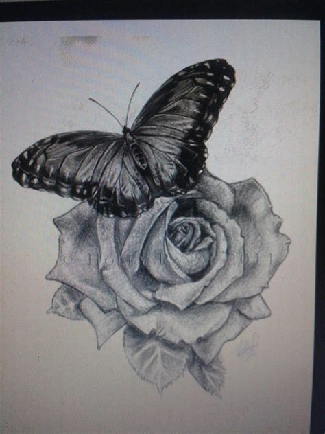 vlinder op een roos tattoo tattoo inkii pinterest