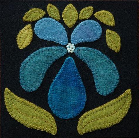felt orchid pattern wool applique pattern orchid 6x6 block 1 by