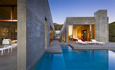 warm modern home full of concrete and wood details contemporary concrete house in montecito california