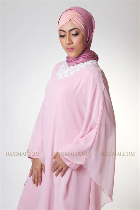 Gamis Muslim Aresya Dress pink pastel modern gamis dammai
