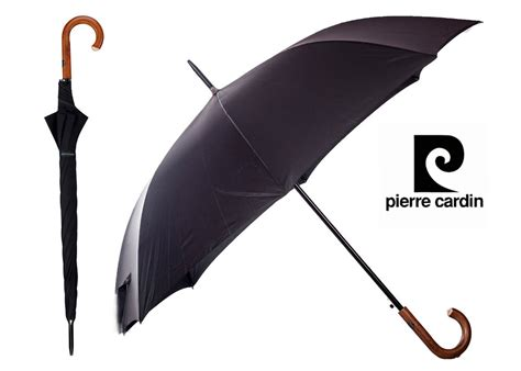 black pattern umbrella pierre cardin black umbrella brown wooden hook handle auto