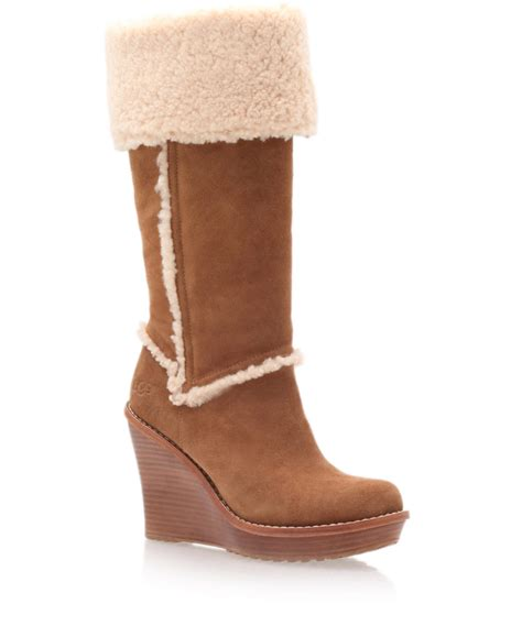 ugg chestnut aubrie wedge boots in brown lyst