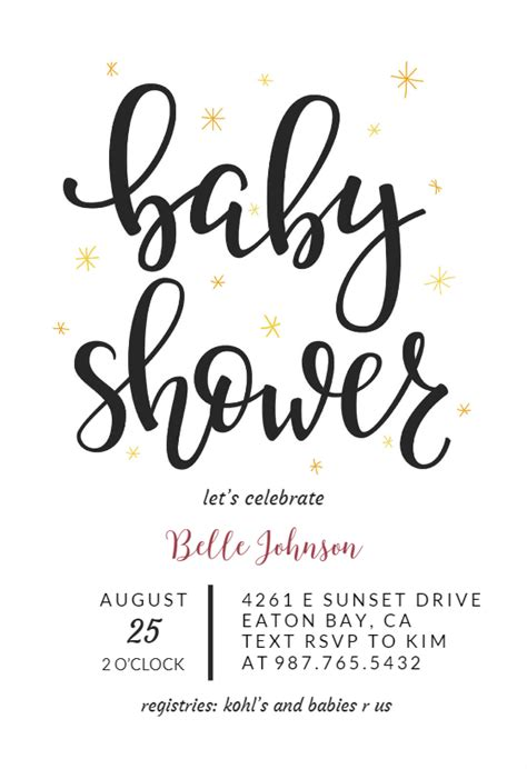 hand lettering baby shower invitation template