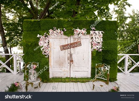 Wedding Arch Photo Booth by Wedding Photobooth Decoration Stock Photo 184520798