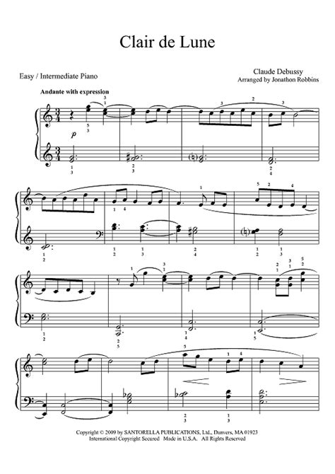 tutorial piano debussy clair de lune easy version piano sheet music debussy