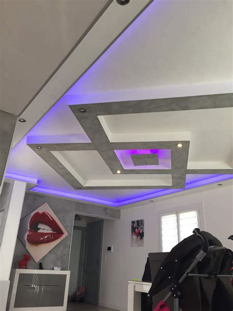 plafond placo design relief led deco mezben