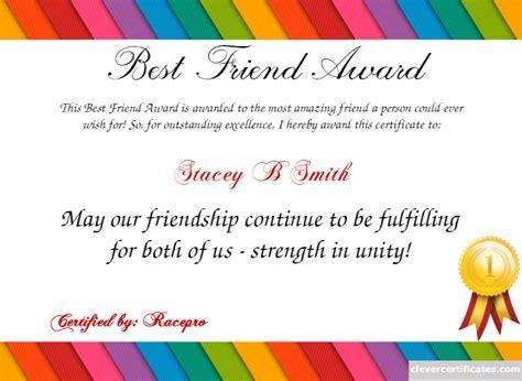 best friend certificate templates certificate template certificate design