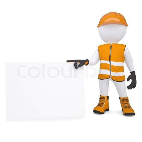stock illustration of 3d man with safety equipment on 3d man in overalls holding blank business card stock