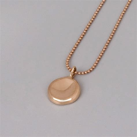 Handmade Gold Necklace - solid gold pebble necklace handmade solid 14k