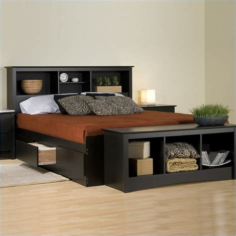 bed with shelves prepac sonoma black bookcase platform storage bed with