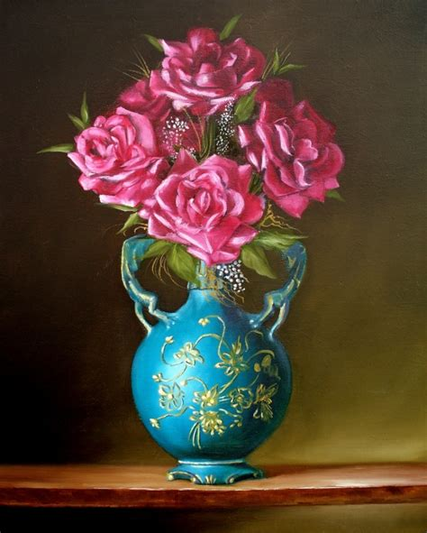 Vase Painting by Still Of Roses In Blue Vase By Rb Mcgrath