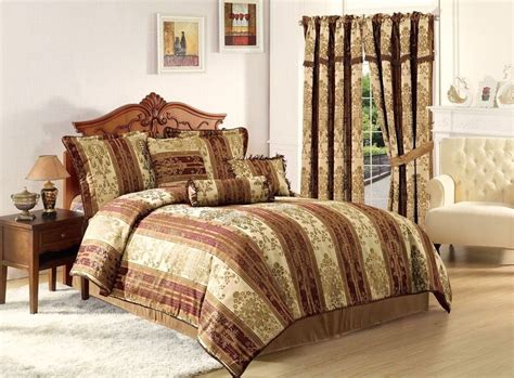 Gold Bedding Sets Vintage Stripe 7pc Jacquard Comforter Set Gold Burgundy Stripes Cal King Size Ebay