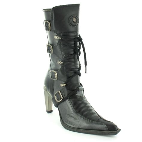 new rock m9373 womens mid calf boots black pewter grey