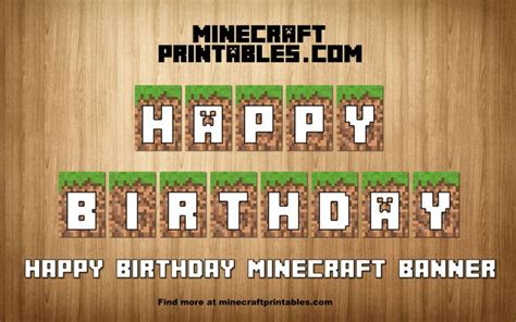 printable happy birthday minecraft banner 126 best images about minecraft printable papercrafts on