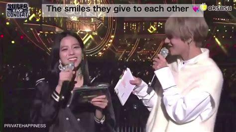 kim taehyung jisoo bts taehyung and blackpink jisoo cute mc moments vsoo