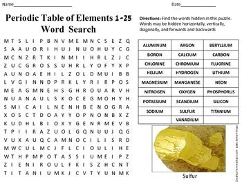 periodic table of elements word search answers periodic