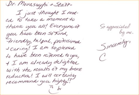 thank you letter to a doctor from a student testimonials thank you cards dr movassaghi
