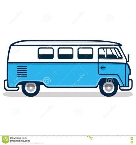 old blue volkswagen vintage blue van cartoon vector cartoondealer com 74892923