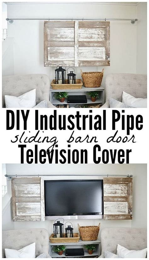 Industrial Pipe Sliding Barn Door Tv Cover A Tv Dark Sliding Barn Door Tv Cover