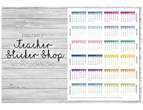 Erin Condren Calendar 2017 2018 Mini Calendars Sticker Printable For Planners