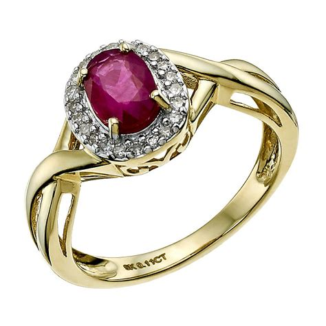 9 4 Ct Ruby 9ct yellow gold oval treated ruby ring h samuel