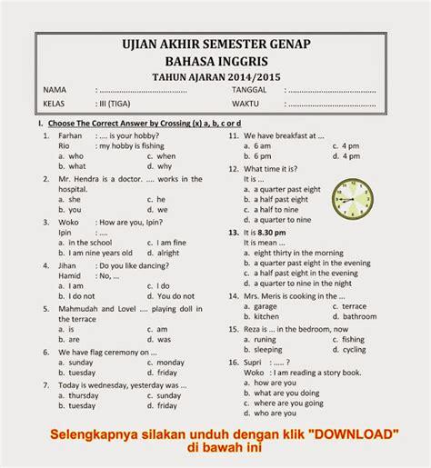 soal soal try out bahasa inggris kelas 6 sd download soal uas ukk bahasa inggris kelas 3 semester 2