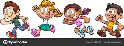 imagenes niños corriendo ni 241 os dibujos animados corriendo vector de stock