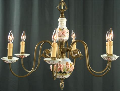 capodimonte chandelier large vintage capodimonte style chandelier 6 metal arms