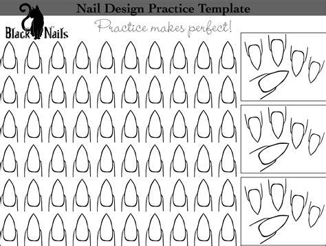 nail shape template nail design practice sheet bonus versions black