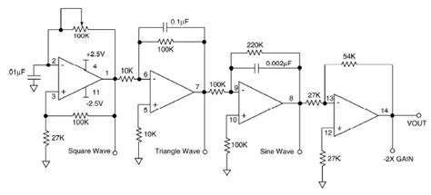 schematic diagram of function generator circuit and