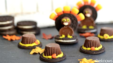 Thanksgiving Edible Decorations by Oreo Turkeys And Pilgrim Hats Thanksgiving Food Crafts The Will