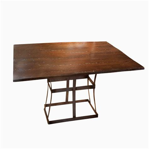 Metal And Wood Dining Table Buy A Handmade Reclaimed Wood Dining Table With Contemporary Metal Base Made To Order From The