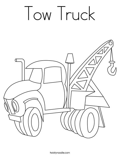 tow truck coloring page twisty noodle