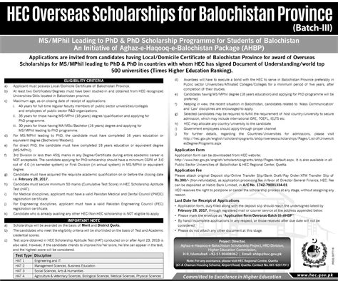 Rollins Mba Application Deadline by Hec Oversea Scholarships For Balochistan Provence
