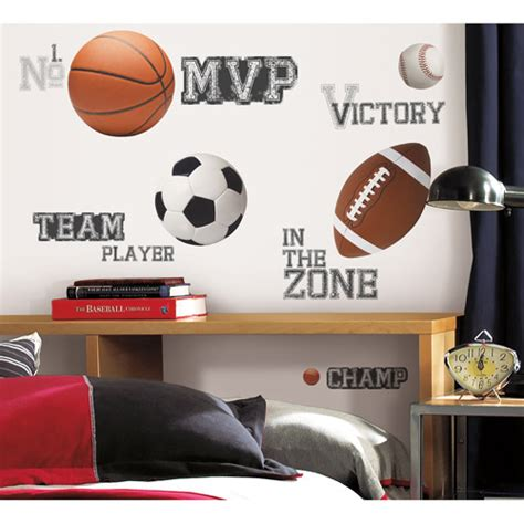 roommates all sports saying peel stick wall decals