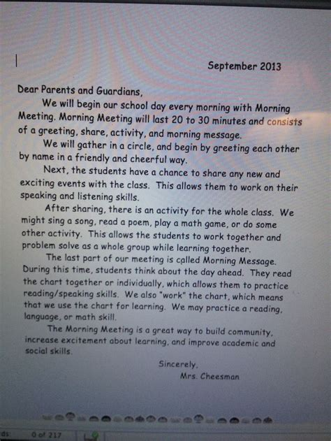 Letter Morning Morning Meeting Parent Letter Morning Meeting Parents Morning Meetings And
