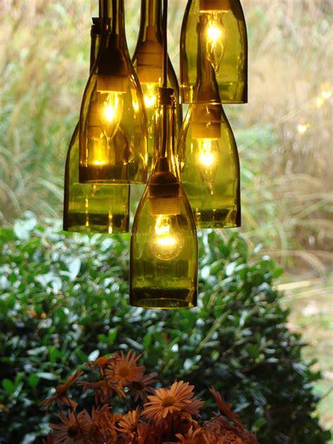 Diy Wine Bottle Chandelier Recycled Wine Bottle Lighting Popsugar Home