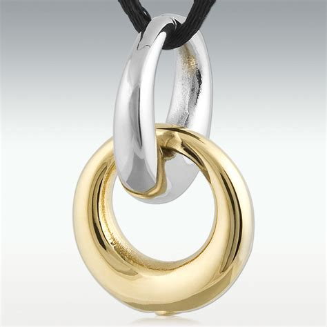 gold interlocking rings stainless steel cremation jewelry