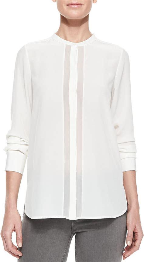 white sheer silk blouses for women white silk long sleeve blouse vince sheer charmeuse long